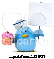 Clipart Of A 3d Chubby Blue Bird Sailor Holding A Cupcake On A White Background Royalty Free Illustration