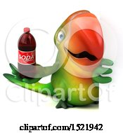 Clipart Of A 3d Green Macaw Parrot Holding A Soda On A White Background Royalty Free Illustration