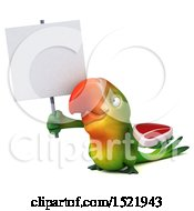 Clipart Of A 3d Green Macaw Parrot Holding A Steak On A White Background Royalty Free Illustration