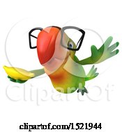 Clipart Of A 3d Green Macaw Parrot Holding A Banana On A White Background Royalty Free Illustration