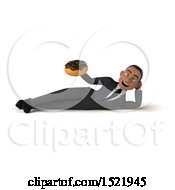3d Young Black Business Man Holding A Donut On A White Background