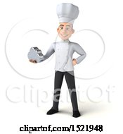 Clipart Of A 3d Young White Male Chef Holding A Cloud On A White Background Royalty Free Illustration