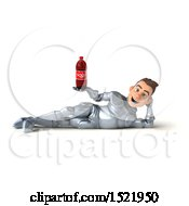 Poster, Art Print Of 3d Caucasian Male Armored Knight Holding A Soda On A White Background