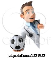 3d White Male Doctor Holding A Soccer Ball On A White Background