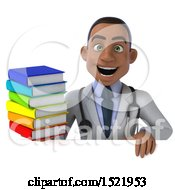 3d Young Black Male Doctor Holding Books On A White Background