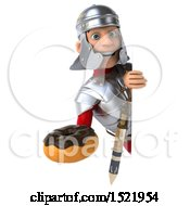 Poster, Art Print Of 3d Young Male Roman Legionary Soldier Holding A Donut On A White Background