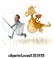 Clipart Of A 3d Yellow Dragon Chasing A Knight On A White Background Royalty Free Illustration