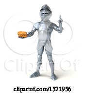 Poster, Art Print Of 3d Armored Knight Holding A Hot Dog On A White Background