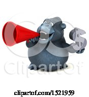 Clipart Of A 3d Gorilla Holding A Dollar Sign On A White Background Royalty Free Illustration by Julos