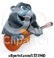 3d Gorilla Holding A Guitar On A White Background