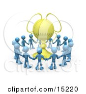 Winning Team Of Blue Figures Holding Hands And Standing In A Circle Around Their Golden Championship Trophy Clipart Illustration Image