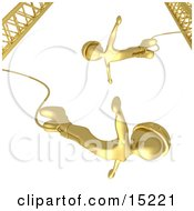 Golden Bungee Jumpers In Helmets Falling While Bungee Jumping From A Crane Clipart Illustration Image by 3poD