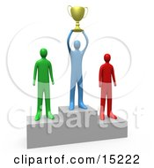 Successful Athlete Holding A Golden Trophy Cup Up Above His Head And Standing On The First Place Spot On A Podium While The Two Runners Up Stand On Both Sides