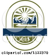 Clipart Of A Mountains Sunset And Axe Camping Design Royalty Free Vector Illustration