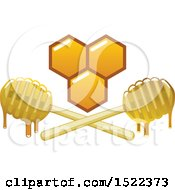 Clipart Of A Honeycomb And Dripping Dippers Design Royalty Free Vector Illustration