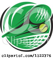 Clipart Of A Green Circle With A Tennis Net Ball And Racket Royalty Free Vector Illustration