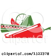 Clipart Of A Mexican Sombrero Hat With A Chile Pepper Lime And Tomato Wedge Royalty Free Vector Illustration by Vector Tradition SM