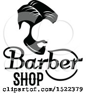 Clipart Of A Black And White Barber Shop Design Royalty Free Vector Illustration