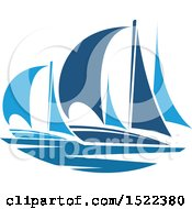 Clipart Of Blue Yachts Royalty Free Vector Illustration by Vector Tradition SM