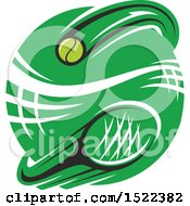 Green Circle With A Tennis Net Ball And Racket