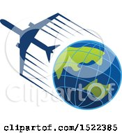 Clipart Of A Silhouetted Airplane Flying Around Planet Earth Royalty Free Vector Illustration