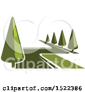 Clipart Of A Green Park With Trees Royalty Free Vector Illustration by Vector Tradition SM