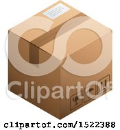Clipart Of A 3d Cardboard Box Royalty Free Vector Illustration