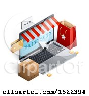 Clipart Of A 3d Online Shop Laptop Computer With A Bag Credit Cards And Box Royalty Free Vector Illustration by beboy