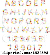 Clipart Of Colorful Flower Capital Letters And Numbers Royalty Free Vector Illustration