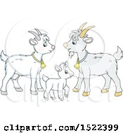 Clipart Of A Cute Goat Family Royalty Free Vector Illustration