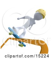 White Person Skateboarding On A Rail And Wearing A Yellow Helmet
