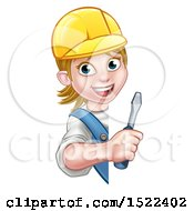 Poster, Art Print Of Cartoon Happy White Female Electrician Wearing A Hardhat Holding A Screwdriver Around A Sign