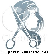Clipart Of A Womans Head In Profile With Long Hair And Scissors Royalty Free Vector Illustration by AtStockIllustration