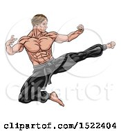 Clipart Of A Strong Muscular Male Martial Artist Kicking Royalty Free Vector Illustration