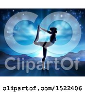 Clipart Of A Silhouetted Woman In A Pilates Pose Against A Sunrise Royalty Free Vector Illustration