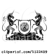 Clipart Of A Pair Of Unicorns Flanking A Lion Shield Over A Banner Black And White Royalty Free Vector Illustration by AtStockIllustration