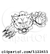 Clipart Of A Black And White Ferocious Wolf Slashing Through A Wall With A Basketball Royalty Free Vector Illustration