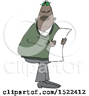 Clipart Of A Black Man Reading A Paper Royalty Free Vector Illustration by djart