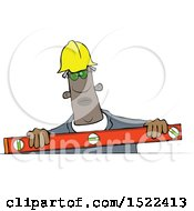 Clipart Of A Black Man Using A Level Royalty Free Vector Illustration