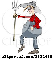 Cartoon Angry Yelling Male Farmer Holding A Pitchfork
