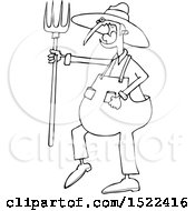 Clipart Of A Cartoon Black And White Angry Yelling Male Farmer Holding A Pitchfork Royalty Free Vector Illustration
