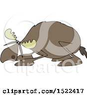 Clipart Of A Cowering Scared Moose Royalty Free Vector Illustration