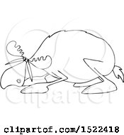 Clipart Of A Black And White Cowering Scared Moose Royalty Free Vector Illustration