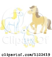Clipart Of A Horse Family Royalty Free Vector Illustration