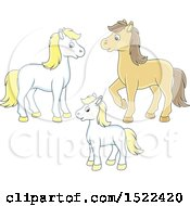 Clipart Of A Cute Horse Family Royalty Free Vector Illustration