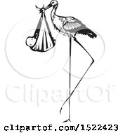 Clipart Of A Stork Bird With A Bundled Baby Black And White Woodcut Royalty Free Vector Illustration