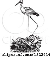 Clipart Of A Stork Bird Wading In Water Black And White Woodcut Royalty Free Vector Illustration