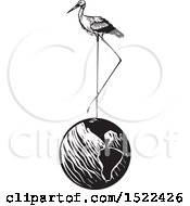 Clipart Of A Stork Bird Standing On Planet Earth Black And White Woodcut Royalty Free Vector Illustration