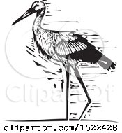 Walking Stork Bird Black And White Woodcut