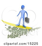 Blue Rich Businessman Person Carrying A Briefcase And Standing Proud On A Yellow Surfboard While Surfing On Money Clipart Illustration Image